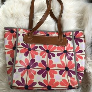 Fossil floral tote handbag purse zipper closure